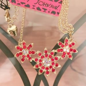 Betsey Johnson Necklace with Ruby Crystal Flowers